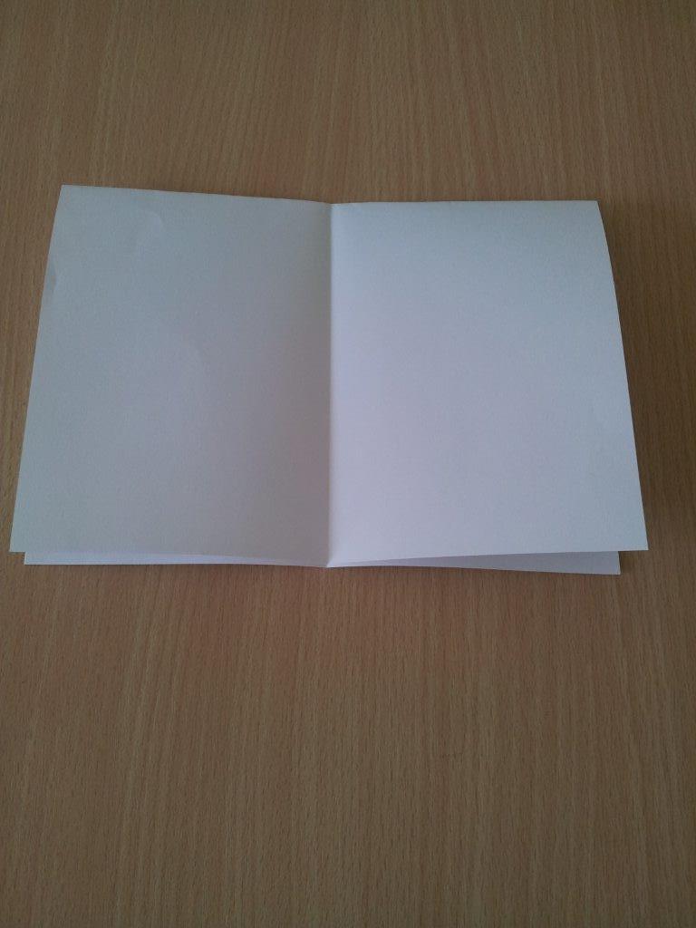 Öffnet das Blatt wieder und legt es mit der geschlossenen Seite nach oben vor euch.