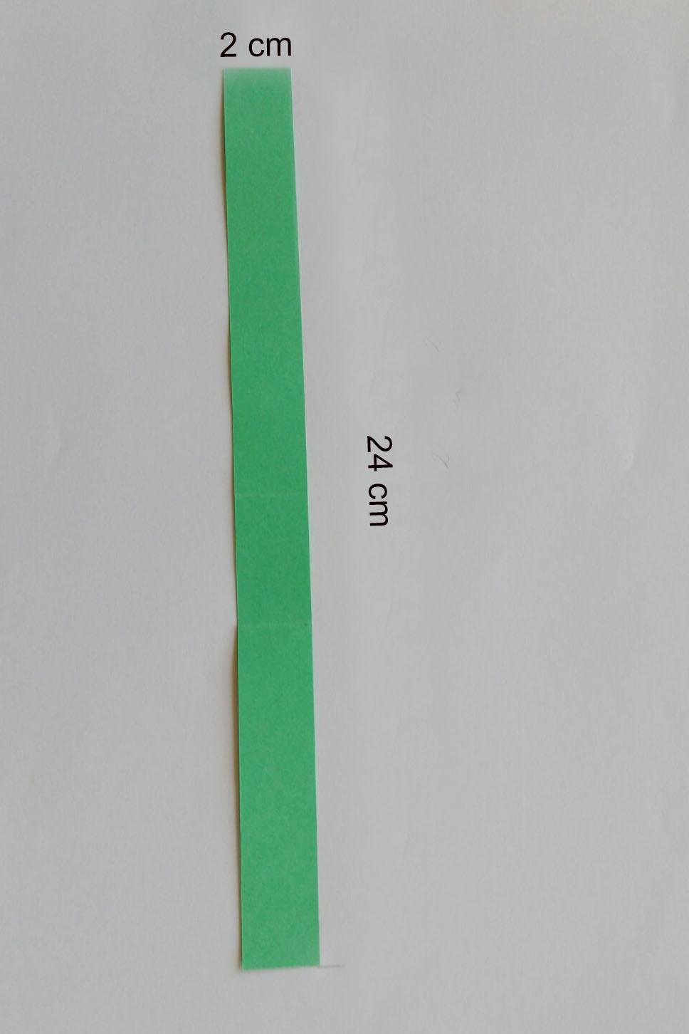 Schneidet einen Streifen aus dem grünen Tonzeichenpapier in der Größe 2 cm x 24 cm. Knickt ihn in der Mitte.
