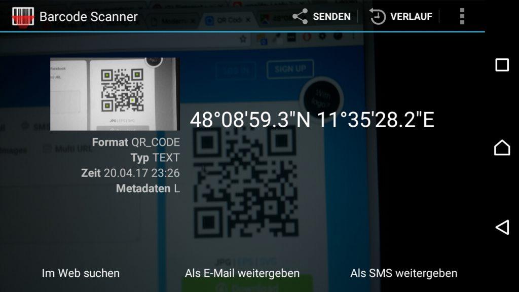 Die App Barcode Scanner liest die Koordinaten aus dem QR-Code aus