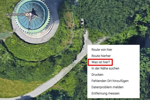 Koordinaten bestimmen in Google Maps