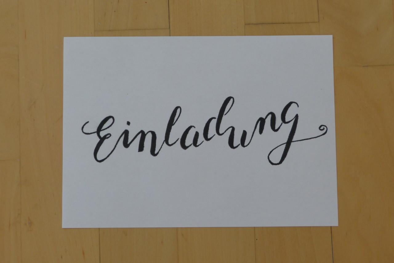 Einladung mit foliertem Handlettering